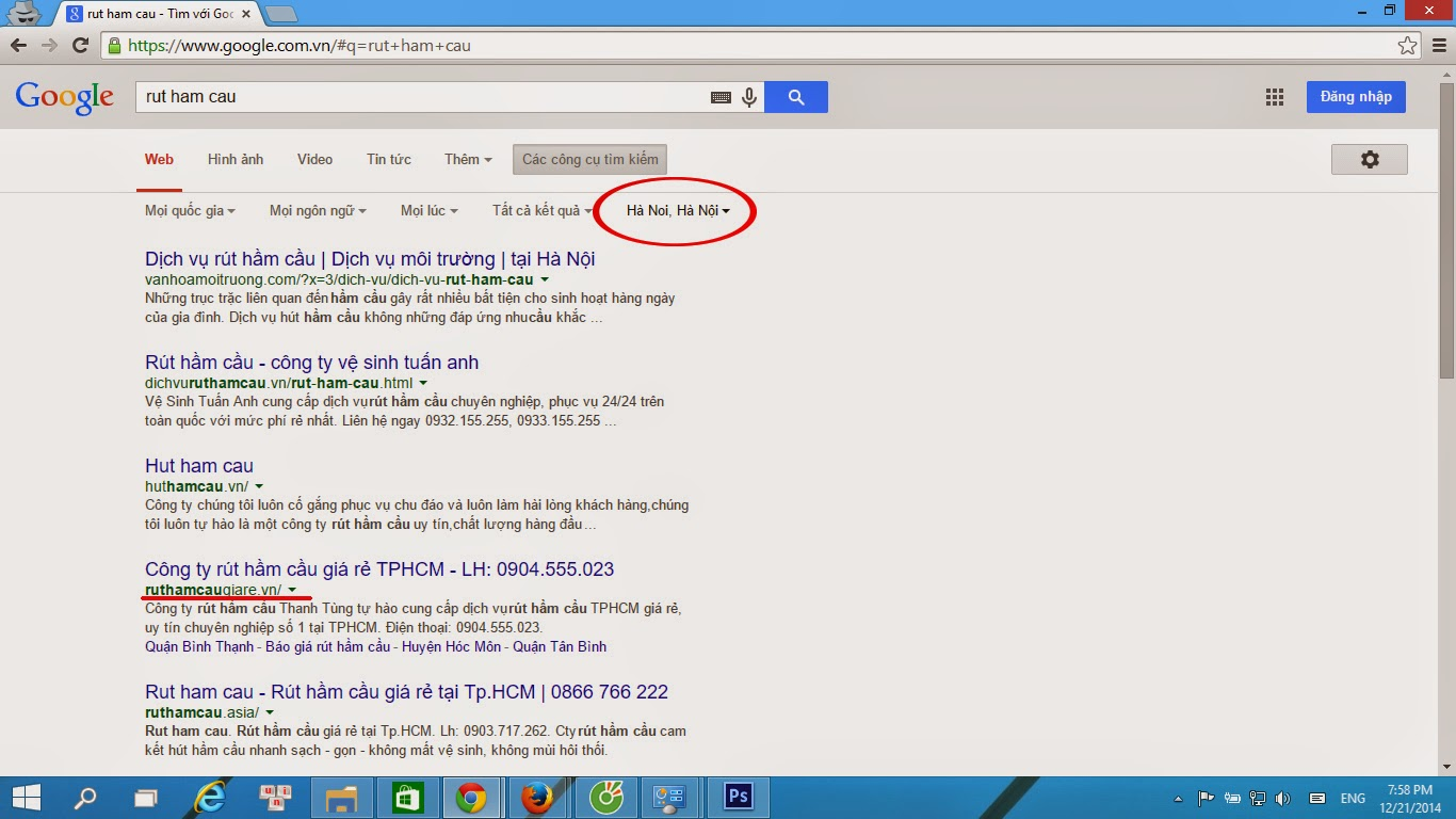Kết quả tìm kiếm tự nhiên của Google phụ thuộc vào vị trí địa lý