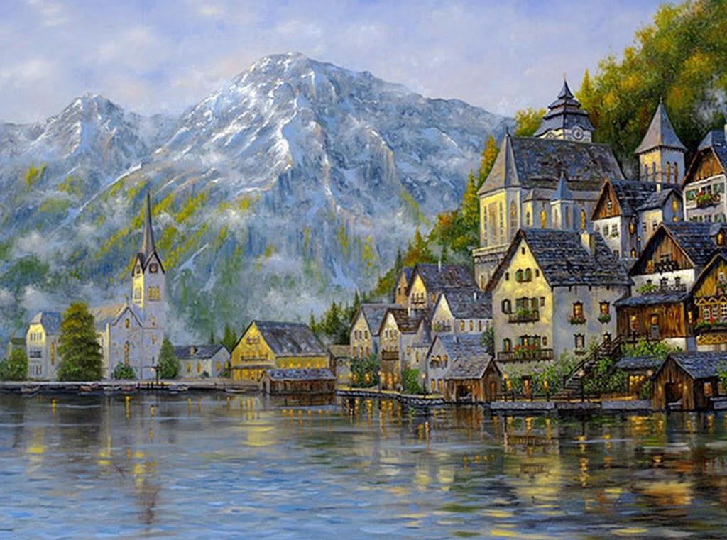 Im genes arte pinturas cuadros de paisajes con casas de for Learn to paint with oils for free