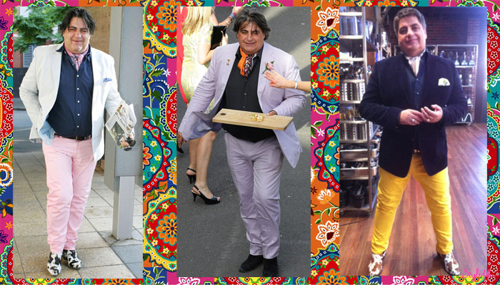 Matt Preston of Masterchef Australia, Taste and Delicious enjoys bright and pastel colour in his look on the show and his appearences with his suits and trousers and cow print shows
