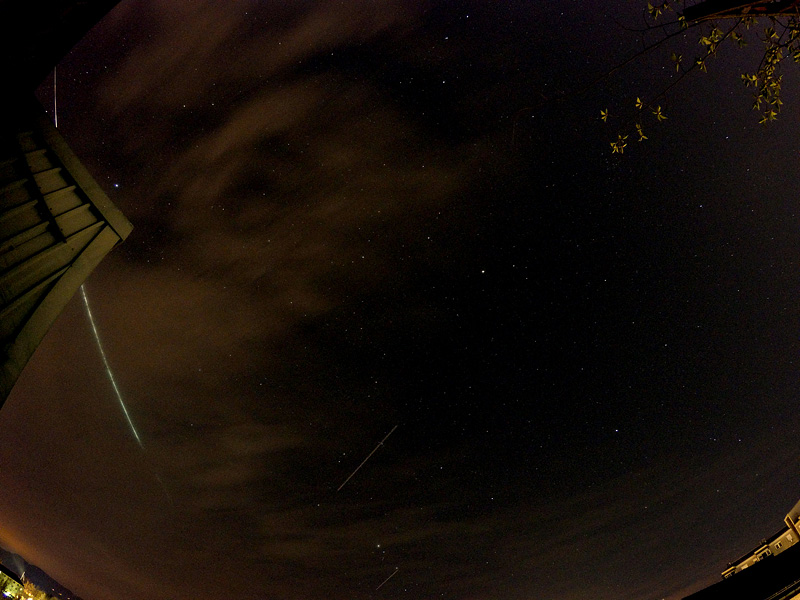 Lyrid meteor shower over Ljubljana on 22042015 the brightest over the roof