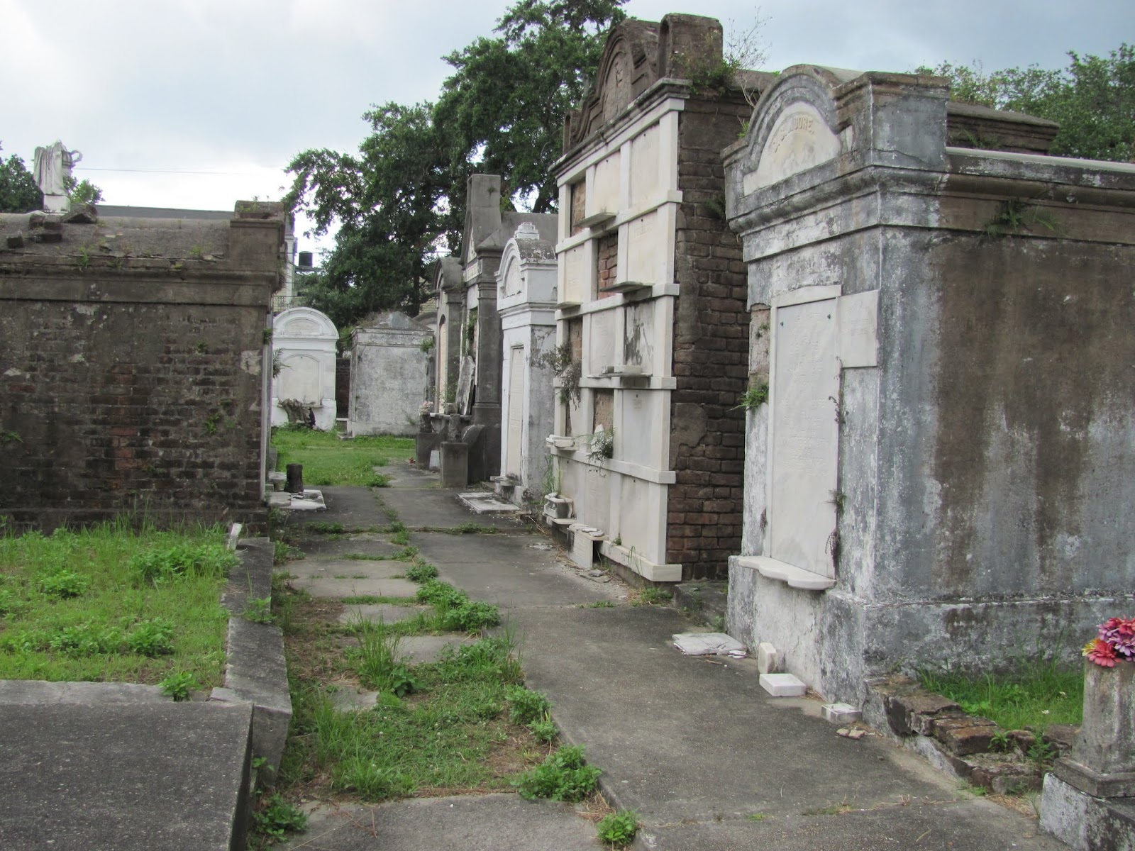 Many individuals are buried in one crypt wall at LaFeyette Cemetery in New Orleans, LA
