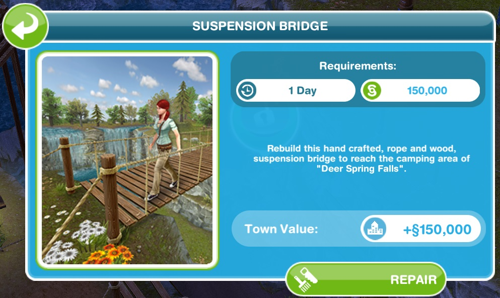 Sims Freeplay Quests and Tips: Outdoors: Building the bridge and ...