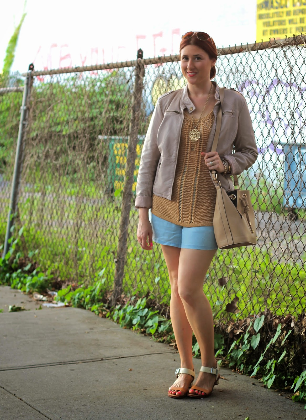 knit, tank, faux, leather, tan, chambray, shorts