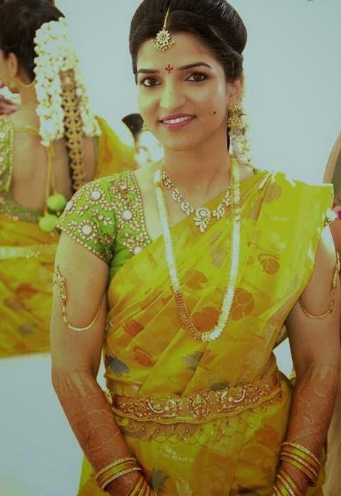 Bride in Greenish Uppada Saree