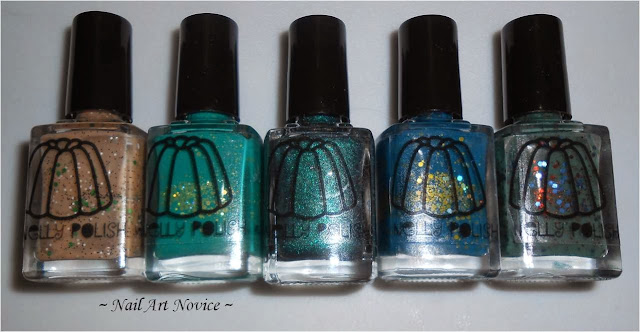 Nelly Polishes made up-Gumpas, Jonah's Green, Teal Holo, Bodmin, Autumn Teal