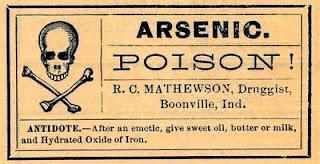 arsenico en la etiqueta de veneno en sepia