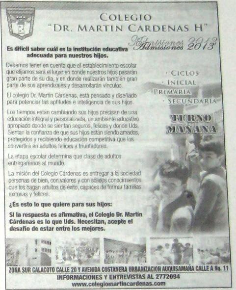 """Inscripciones Colegio """"Dr Martin Cardenas H"""""""