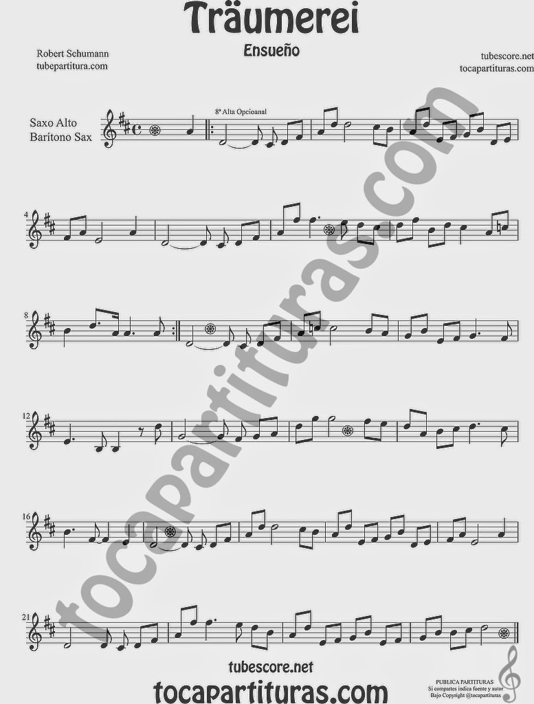 Traumerei Partitura de Saxofón Alto y Sax Barítono Sheet Music for Alto and Baritone Saxophone Music Scores by Robert Schumann