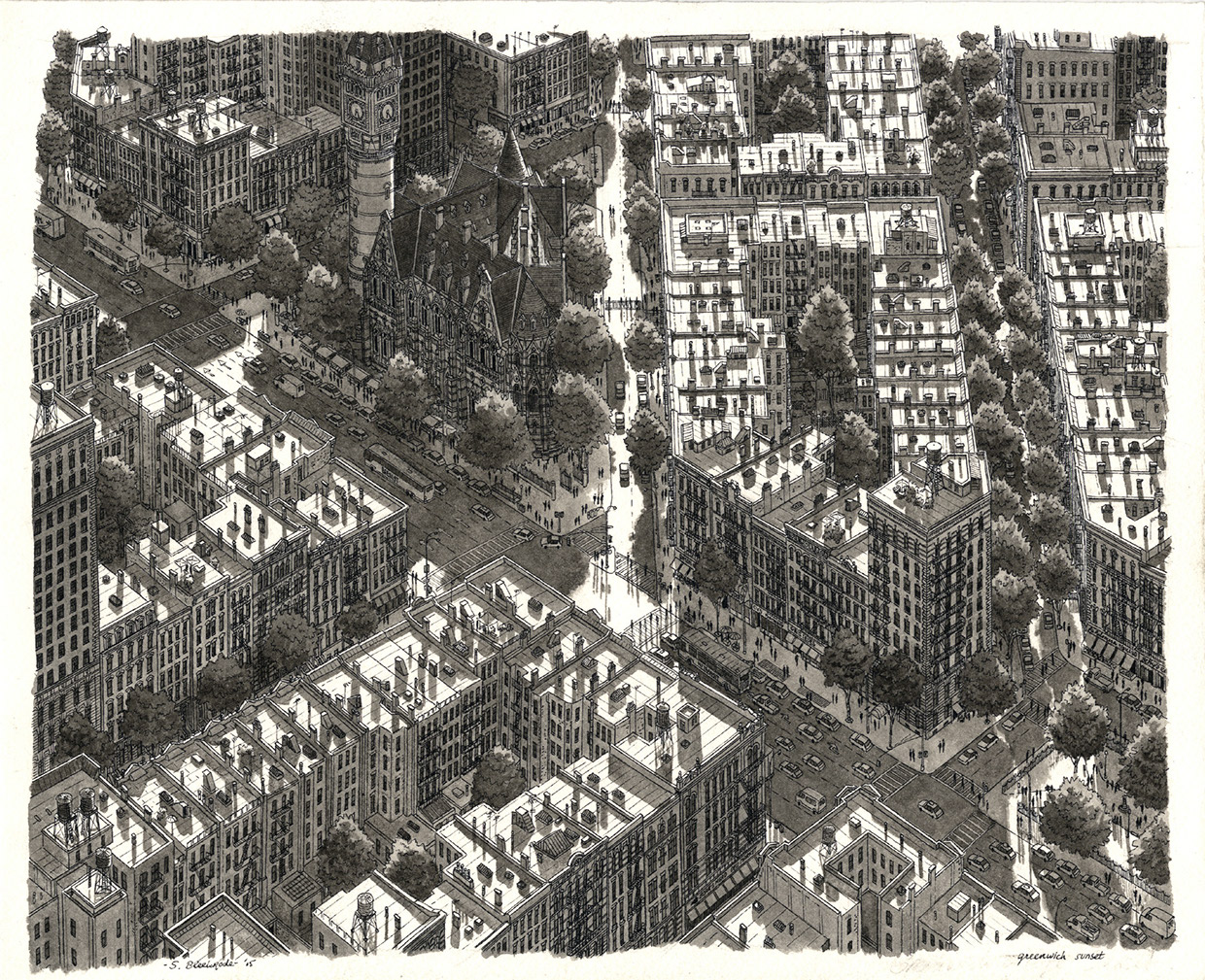 04-Greenwich-Village-Sunset-Stefan-Bleekrode-Detailed-Architectural-Drawing-from-the-Imagination-www-designstack-co