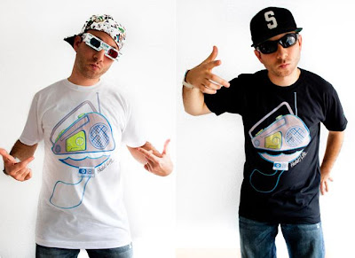 Hidaki Boombox White and Black T-Shirts