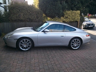 Side shot of the 2001 Porsche 911 Carrera 2 Coupe in silver