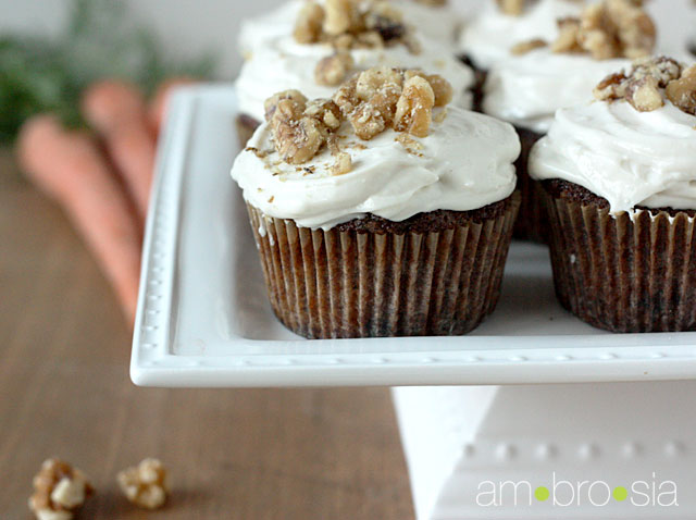 ambrosia: Carrot Cake Cupcakes with Cream Cheese Frosting