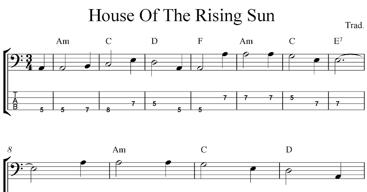 Free bass tab sheet music, House Of The Rising Sun