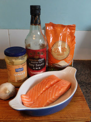 A dish containing two pieces of salmon, plus marinade ingredients.