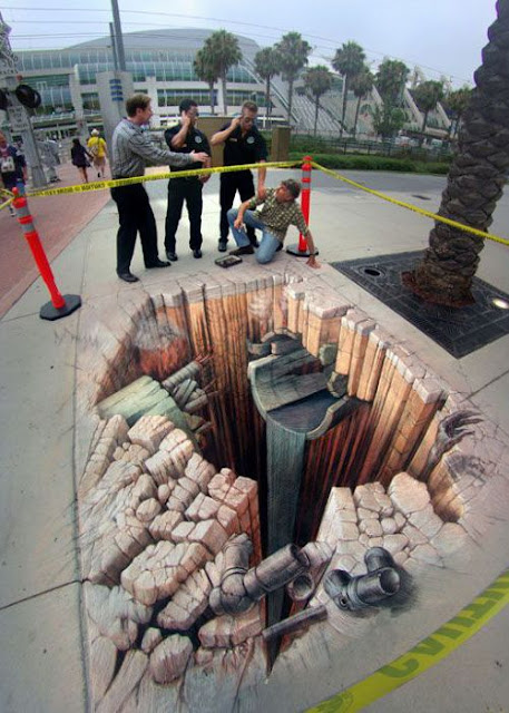 3d illusions 17 - 3 Dimensional Sidewalk Chalk Art