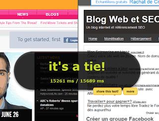 Comparer la vitesse d'affichage de deux sites