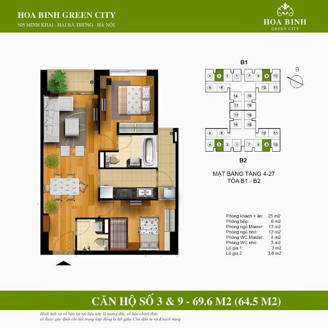 Mặt bằng căn 3 - 9 chung cư Hòa Bình Green City