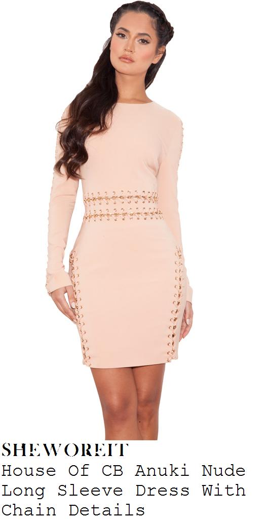 jennifer-lopez-nude-beige-chain-eyelet-lace-detail-long-sleeve-mini-dress-american-idol
