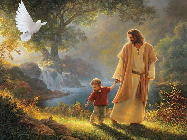 Jesus guiding a little boy