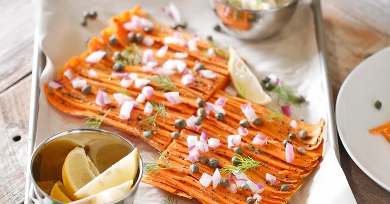 """Carrot """"Lox"""" with Red Onion, Capers, Dill, and Créme Fraîche"""