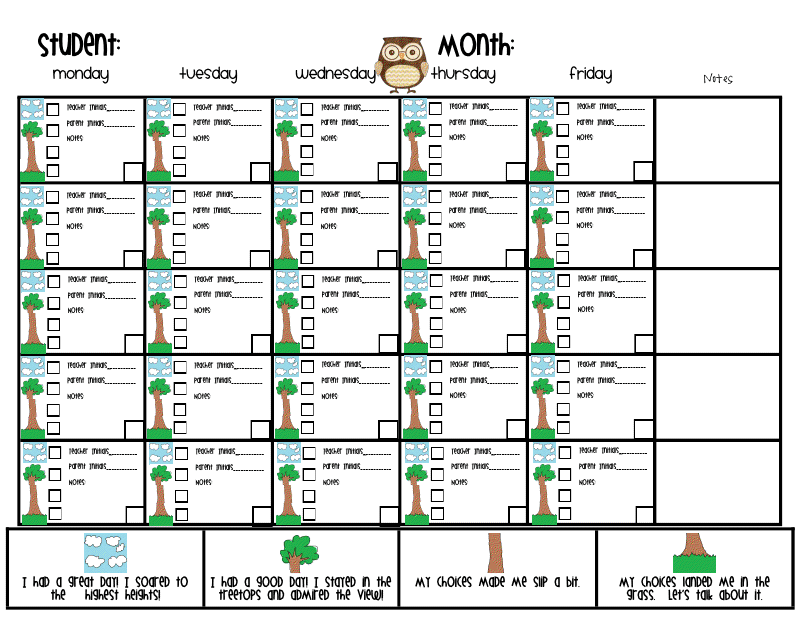 The go to teacher addition to owl behavior chart for Monthly behavior calendar template