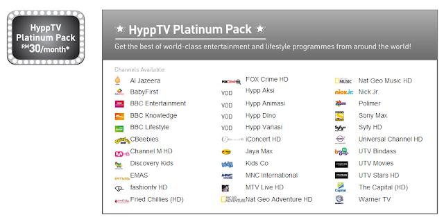 HyppTV Platinum Pack - RM 30 sebulan