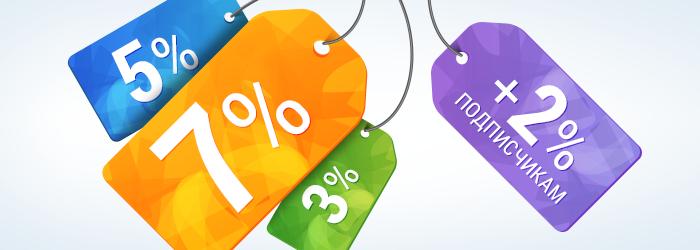 Скидка при заказе на сайте на выходные 3%, 5%, 7% на смартфон планшет фотоаппарат спортивный браслет умные часы аксессуар или гаджет промокод