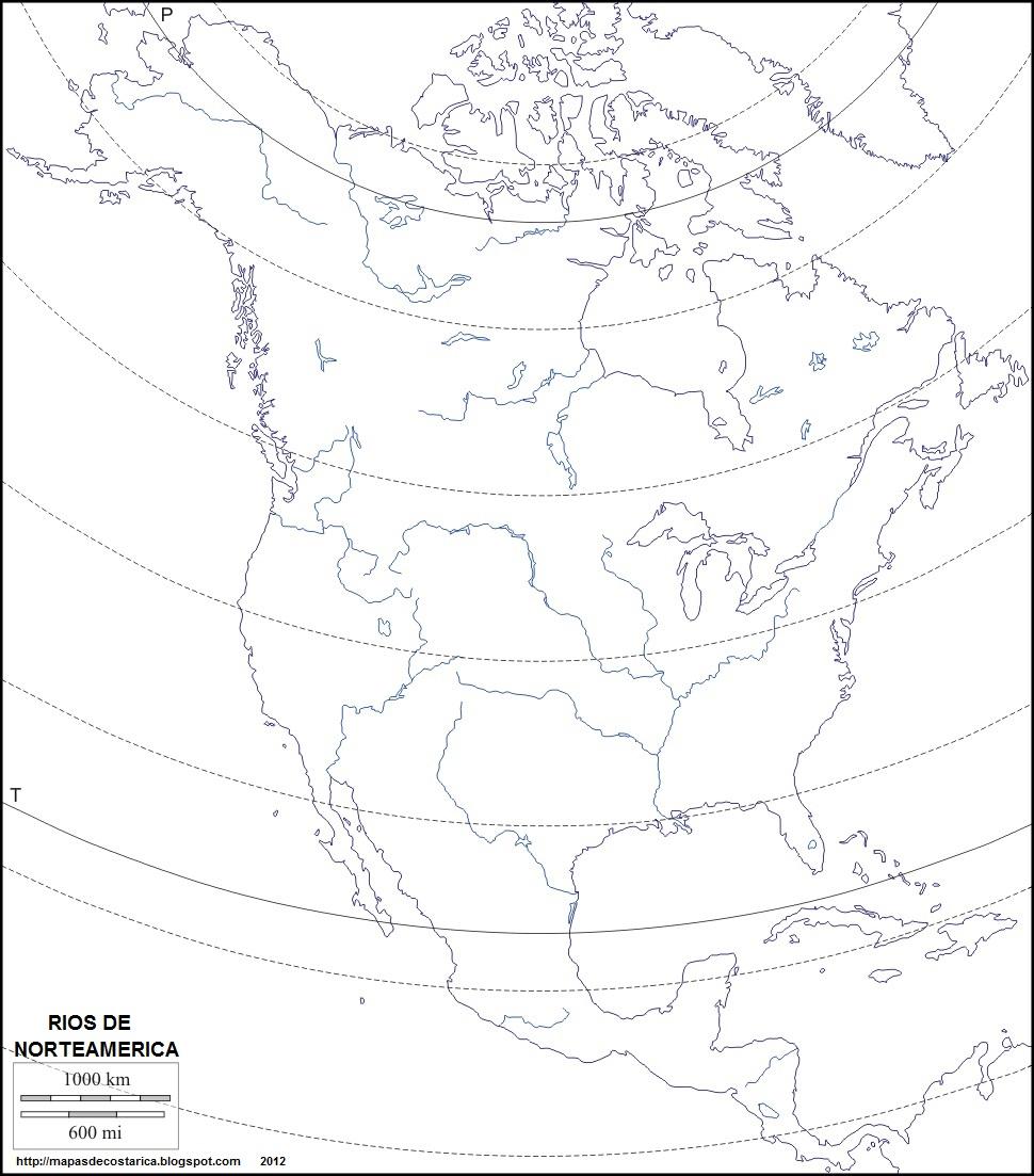 Mapa Mudo De Los Rios De America Del Norte