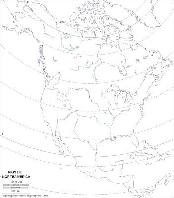 Mapa mudo de America del Norte. Rios de Norteamerica