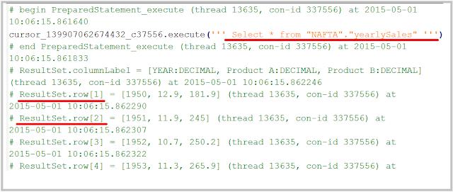 SAP HANA SQL Trace output