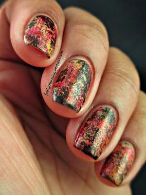 Julep, Brielle, Otte, Karmen, Thanksgiving, distressed nails, nails, nail art, nail design, mani