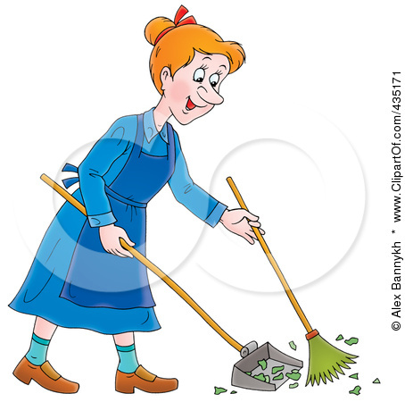 435171 Cartoon Happy Woman Sweeping Up A Mess Poster Art Print