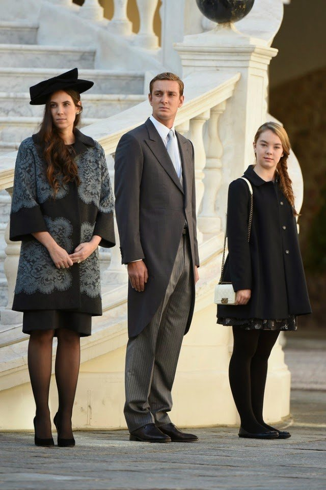 rincess Caroline of Hanover, Sacha Casiraghi and Andrea Casiraghi attend the Monaco National Day Celebrations in the Monaco Palace Courtyard