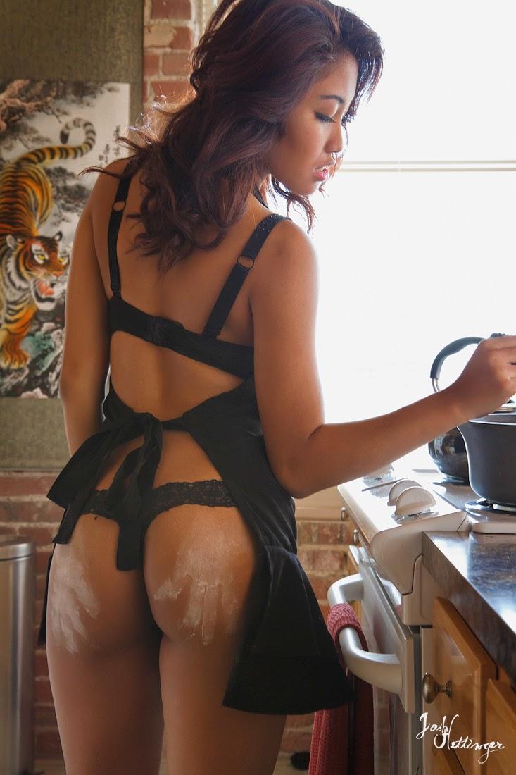 Asian girl boudoir shoot in Kitchen