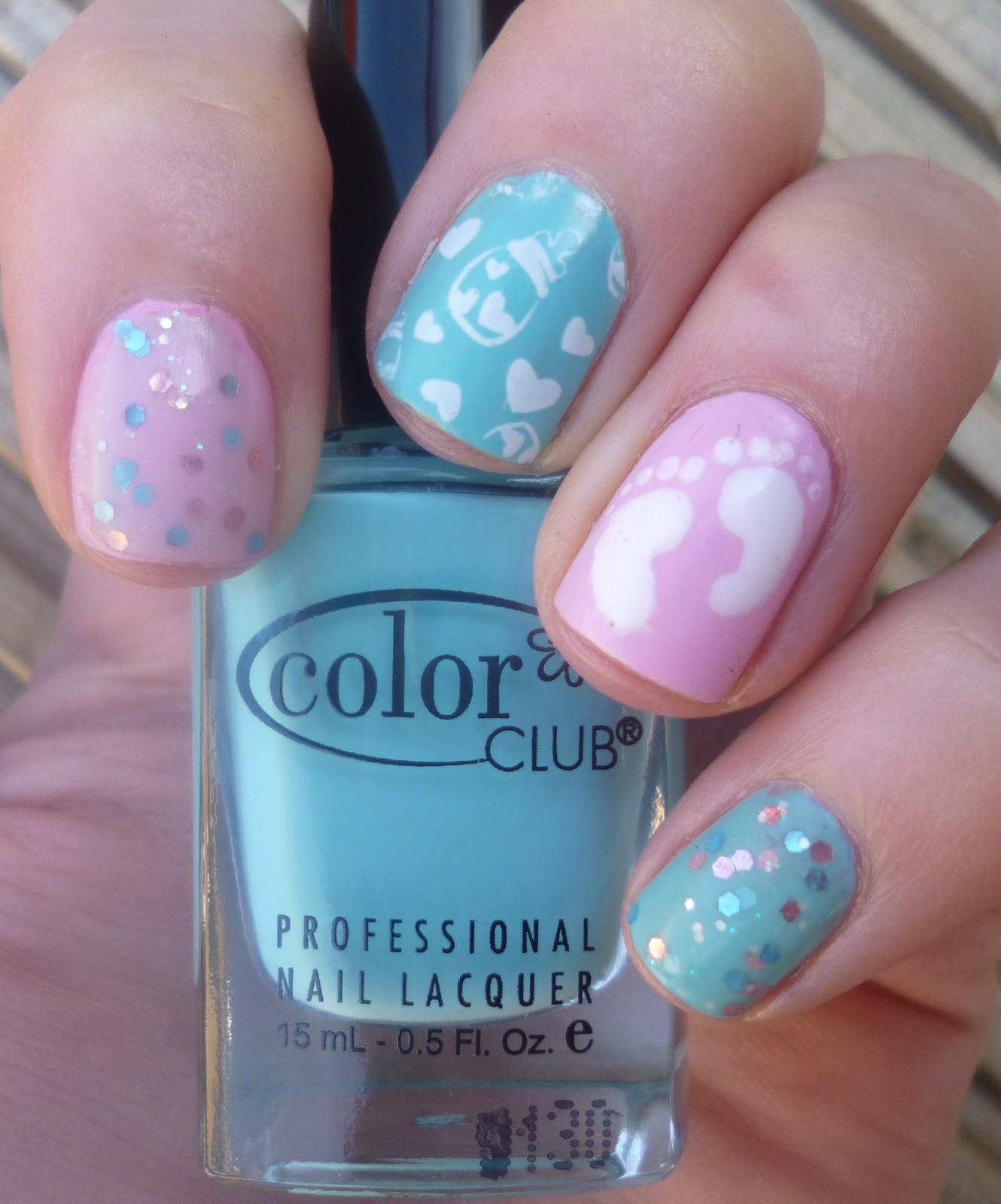 lou is perfectly polished baby shower nails