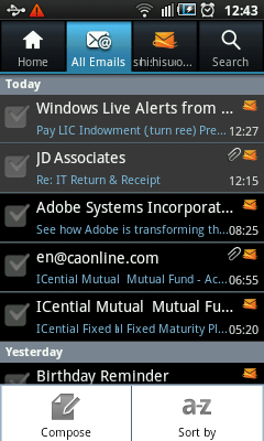 Android Hotmail - Inbox
