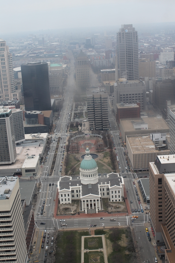 view of St Louis from the top of the Arch