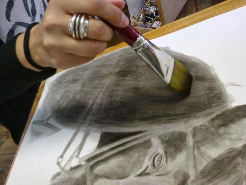 pintando con tinta china y planilla