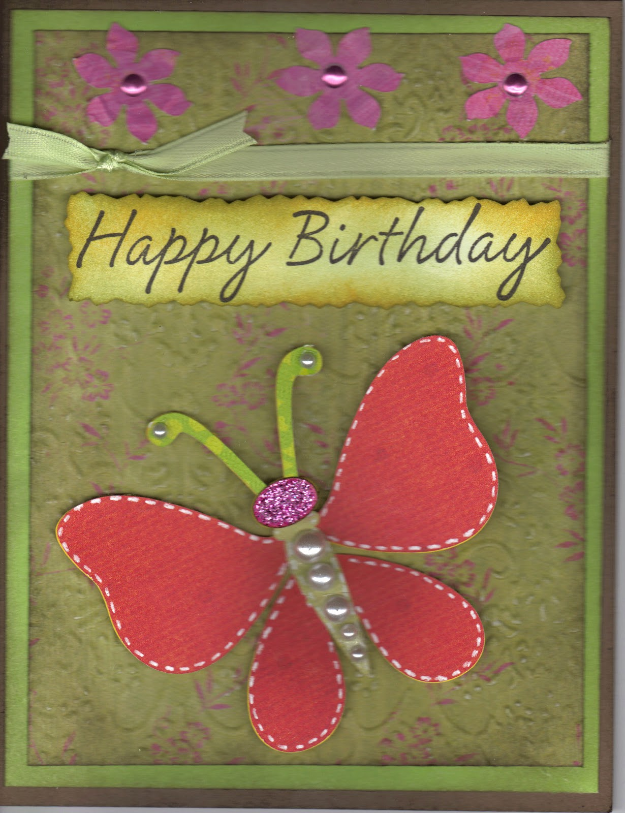 Paper Crafts With The Pink Armadillo Butterfly Birthday Card