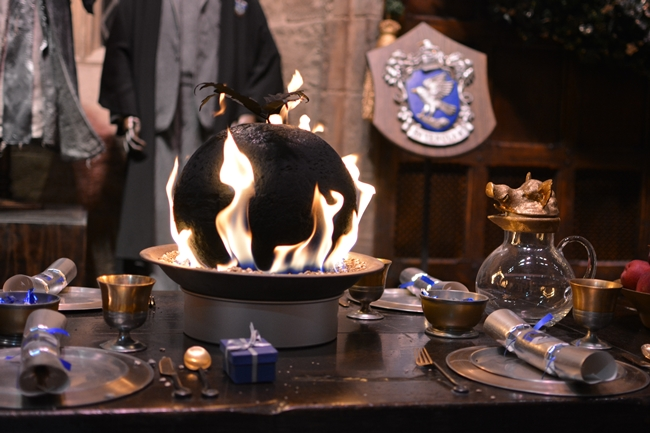 Flaming Christmas Pudding Ravenclaw Dinner Table