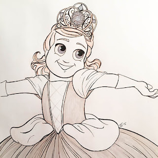 Black and white in drawing of a smiling little girl dressed like a princess in a ballgown and tiara
