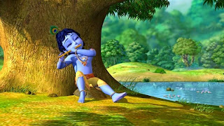 Wallpaper disney little krishna di tepi sungai