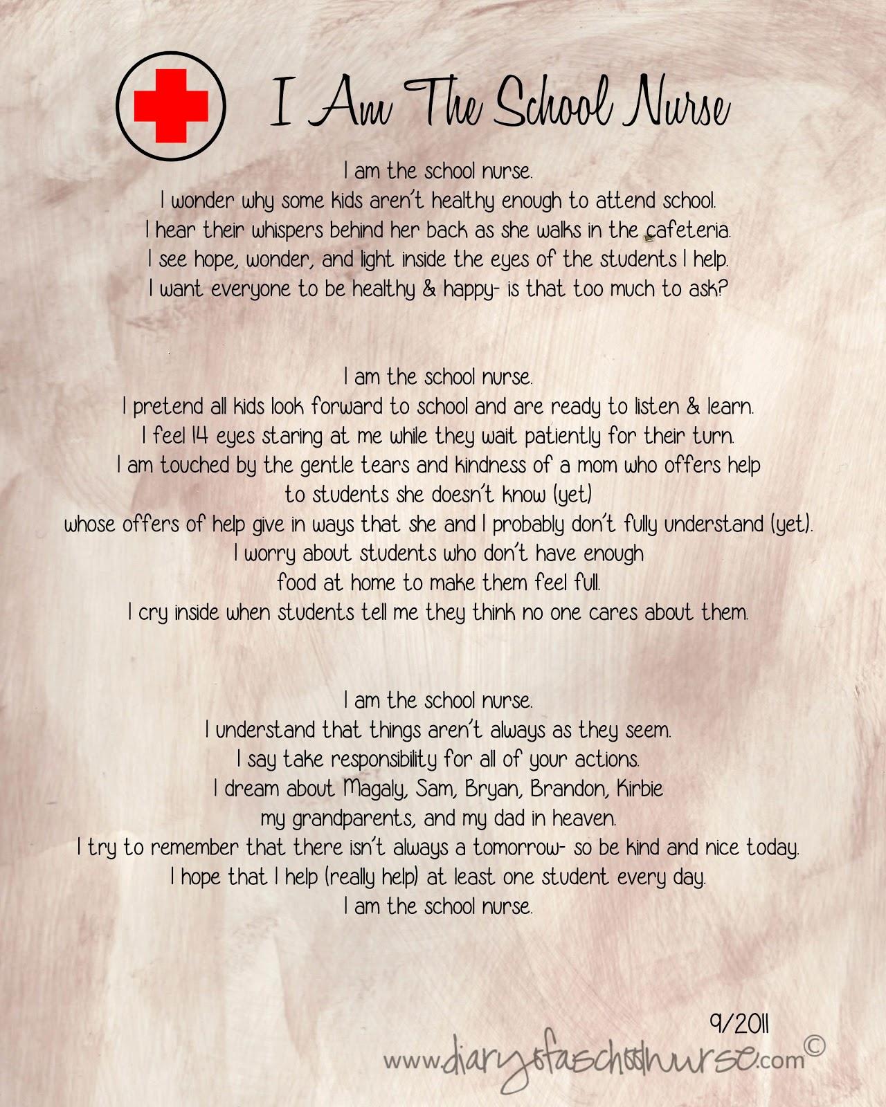 diary of a school nurse 2013 2011 i am the school nurse poem