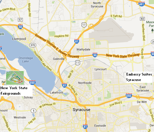 map showing that Embassy Suites Syracuse is 10 miles/15 minutes from the New York State Fairgrounds