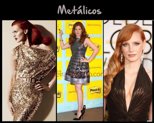 Combinando o cabelo vermelho com roupas em tons metálicos, por Mineira sem Freio