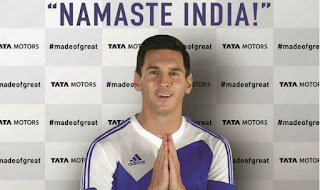 In a new video released by Tata Motors Lionel Messi says Namaste India with folded hands.  The world's best footballer has been signed up for two years as global ambassador for Tata's passenger vehicles.