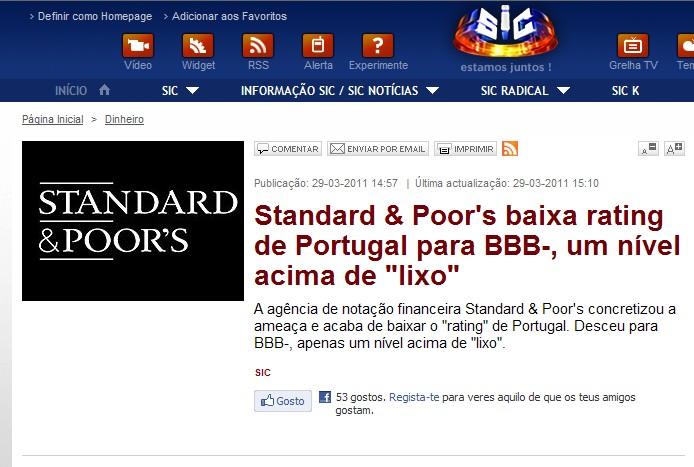 """Portugal quase na categoria de """"Lixo"""" ?"""