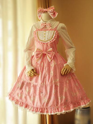 Classic Butterfly Printed Bow Rococo Lolita Dress