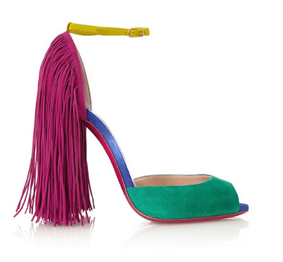 Christian Louboutin multi-colored fringed peep toe high heeled shoes