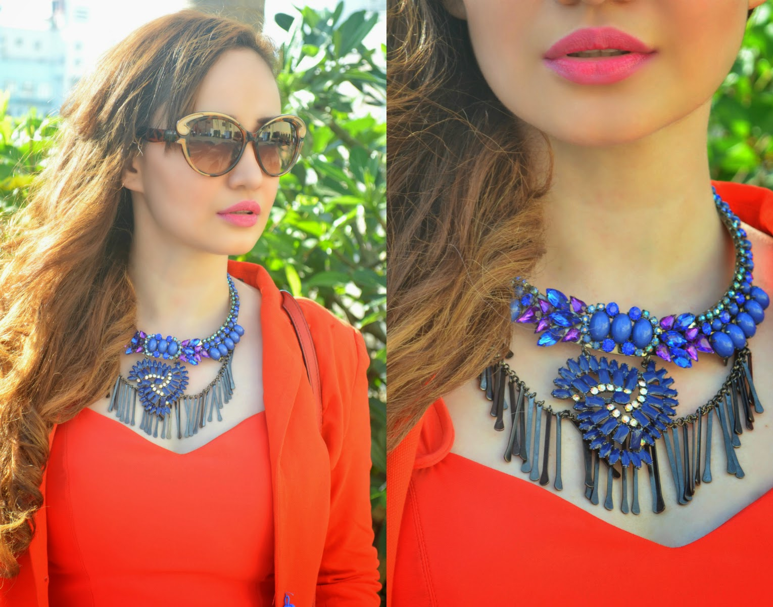 Cat-eye Sunglasses, Blue Stone Statement Necklace